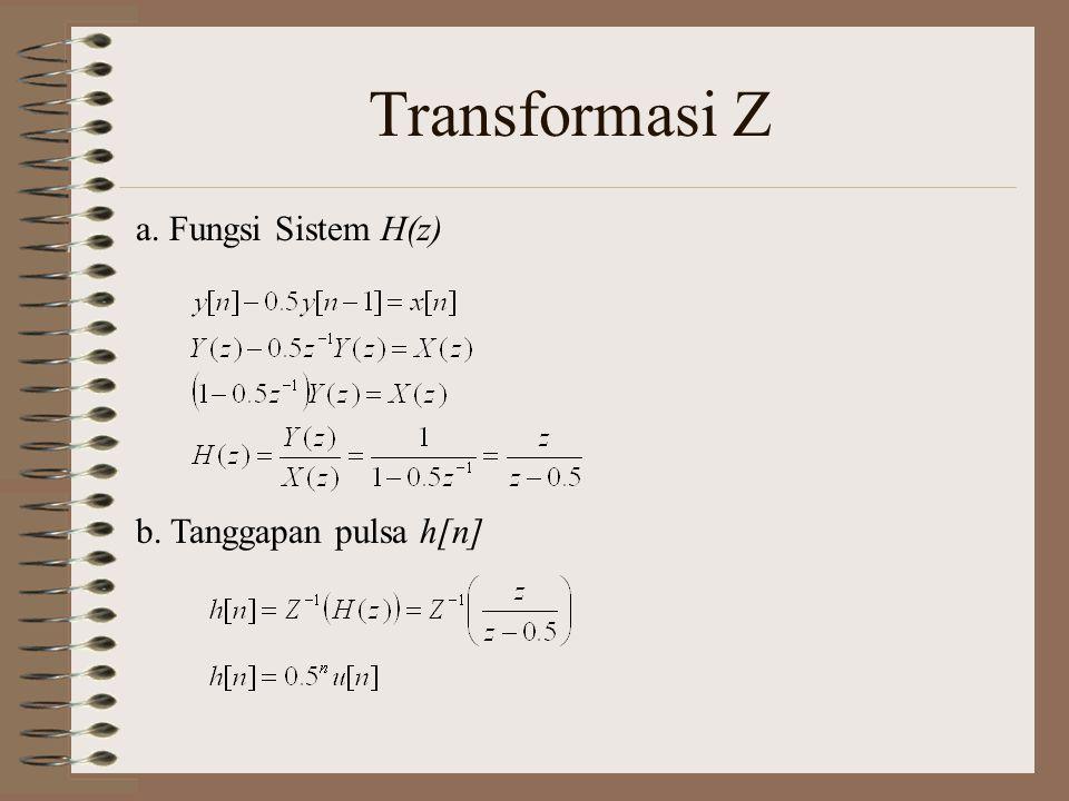 Transformasi Z a. Fungsi Sistem H(z) b. Tanggapan pulsa h[n]